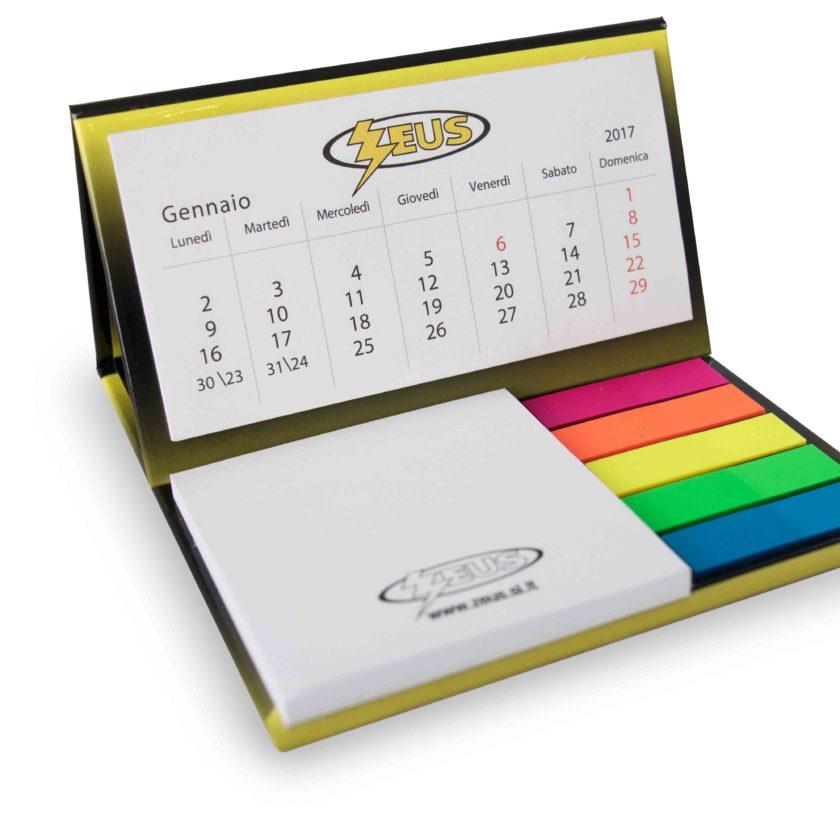 gadget Calendario da tavolo su base rigida con 1 blocco adesivo