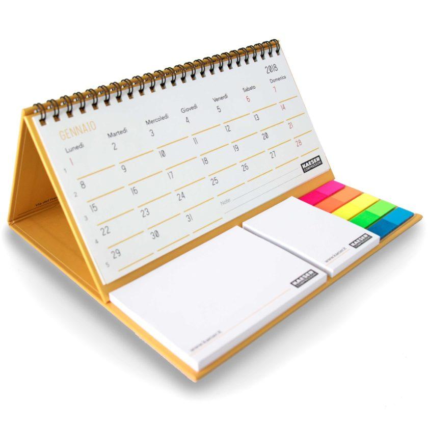gadget Calendario da tavolo su base rigida con 2 blocchi adesivi e spirale