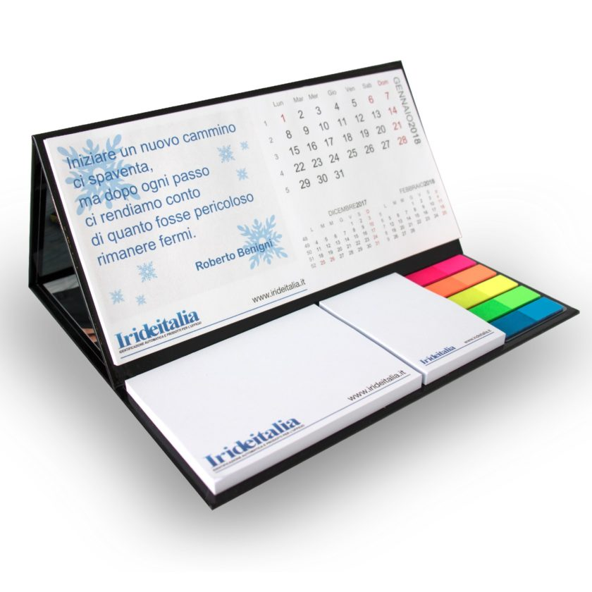 gadget Calendario da tavolo su base rigida con 2 blocchi adesivi